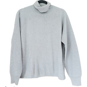 Theory 38 Ribbed Sleeve Turtleneck Knit Sweater